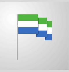 sierra leone waving flag creative background vector image