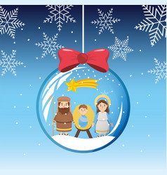 Snowflakes mary and joseph with jesus inside vector