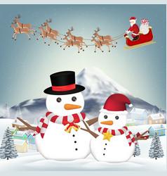 snowman and santa claus in winter village vector image