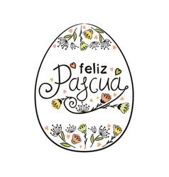 Spanish happy easter frame in shape egg vector