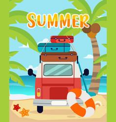 Summer trips summer time summer on beach in vector