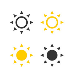 sun collection icon sun black and yellow color in vector image