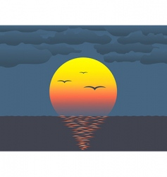 Sunset over water vector