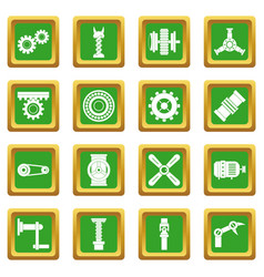 Techno mechanisms kit icons set green vector