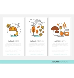 Thin Line Autumn Business Brochures with Fall vector image