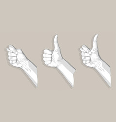Three thumbs sketch vector