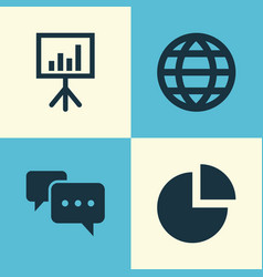 Trade icons set collection of pie bar chatting vector