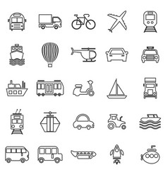 transportation line icons on white background vector image