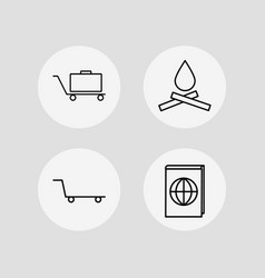 Travel icons set outlined linear icons vector