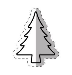 tree pine christmas decoration line vector image