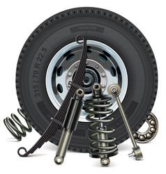 Truck wheel with suspension parts vector