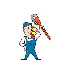 Turkey Plumber Monkey Wrench Cartoon vector image