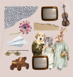 Vintage collage aesthetic element set collage vector