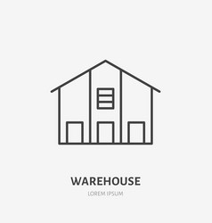 Warehouse flat line icon storage building sign vector