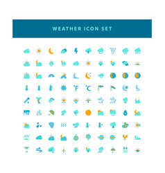 weather icon set with flat color style design vector image