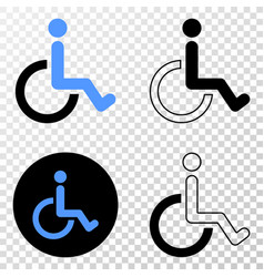 wheelchair eps icon with contour version vector image