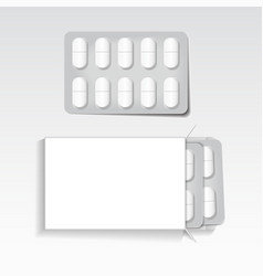 White package with oval tablets blisters pack vector