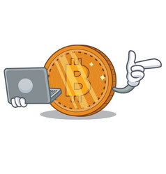With laptop bitcoin coin character cartoon vector