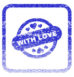 With love stamp seal framed textured icon vector