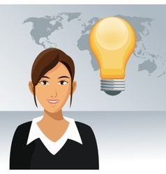 woman work office bulb creativity world background vector image