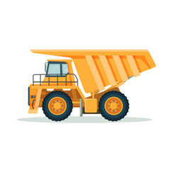 yellow dump truck with big empty body and small vector image