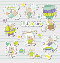 baby boy stickers for baby shower party vector image