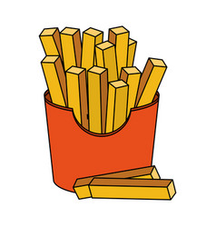 color image cartoon box with french fries vector image vector image