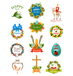 easter cartoon label and badge set design vector image vector image