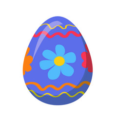 easter egg with ornamental lines and blue flowers vector image vector image