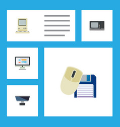 flat icon laptop set of computer mouse computing vector image