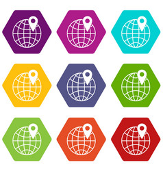 globe with pin icon set color hexahedron vector image