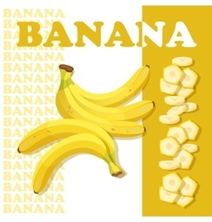 Rpe banana and slices Flat style healthy food vector image