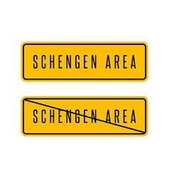 Schengen zone yellow sign European customs area vector image
