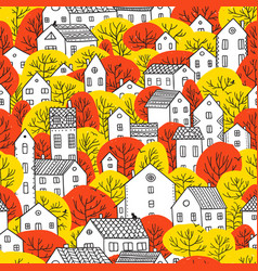 trees and houses seamless pattern autumn red vector image vector image