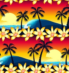 Tropical hibiscus and palm tree at sunset seamless vector image vector image