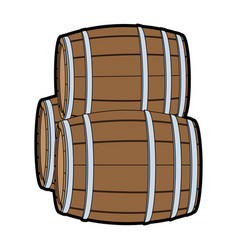 wooden barrels isolated vector image vector image