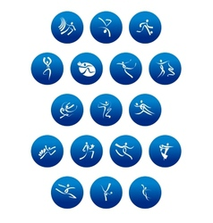 Blue round icons with white sportsman silhouettes vector image vector image