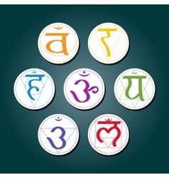 color icons with names of chakras in Sanskrit vector image
