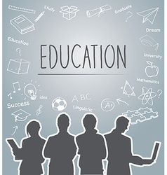 Silhouette people of Education concept vector image