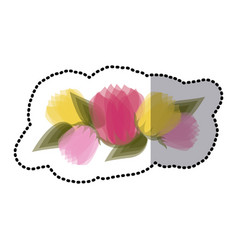 sticker blurred tulips floral design with leaves vector image vector image