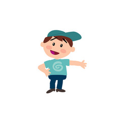 Cartoon character white boy with blue cap showing vector