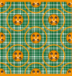 Checkered green fabric with orange circles and vector