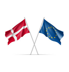 denmark and european union waving flags vector image vector image