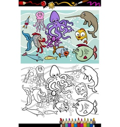 sea life animals group coloring book vector image vector image