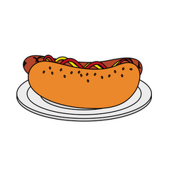 Color image cartoon hot dog on plate fast food vector