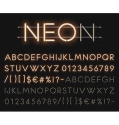 Realistic neon alphabet glowing font vector image