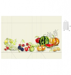 template for bag with fruit vector image