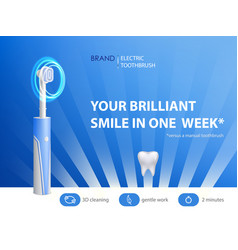 3d realistic toothbrush on ad poster vector image