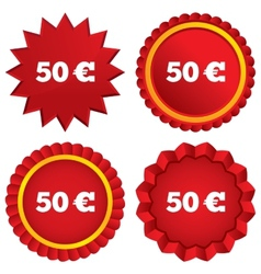 50 Euro sign icon EUR currency symbol vector image