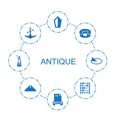 8 antique icons vector
